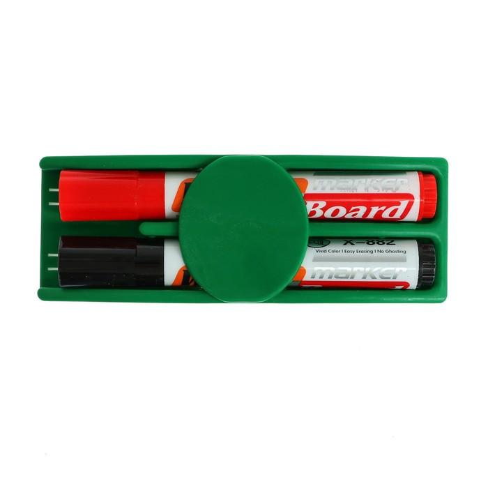 Набор: губка магнитная - стиралка маркера с магнитной доски + 2 водных маркера