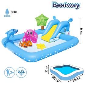 """Бассейн надувной игровой """"Фантастический аквариум"""", с горкой, 239 х 206 х 86 см, надувные игрушки, от 2 лет"""