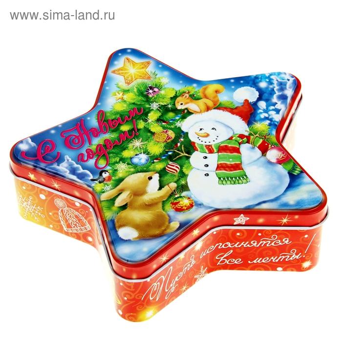 """Подарочная банка жестяная-звезда """"Снеговик"""""""