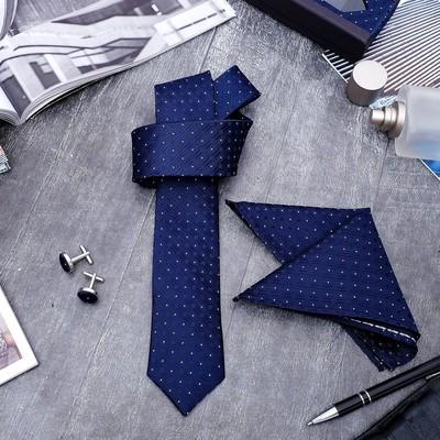 """Набор мужской """"Элит"""" галстук 145*5см, платок, запонки, кружок, цвет темно-синий"""