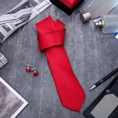 """Набор мужской """"Стиль"""" галстук 145*5см, запонки, зерна, цвет красный"""
