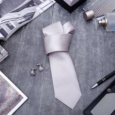 """Набор мужской """"Стиль"""" галстук 145*5см, запонки, крапинка, цвет серо-розовый"""