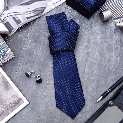 """Набор мужской """"Стиль"""" галстук 145*5см, запонки, ромб, цвет сине-серебристый"""
