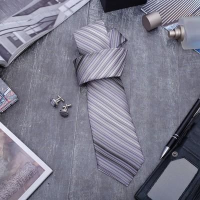 """Набор мужской """"Стиль"""" галстук 145*5см, запонки, линии, цвет серый"""