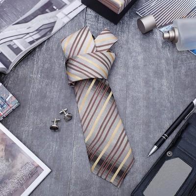 """Набор мужской """"Стиль"""" галстук 145*5см, запонки, полоски, цвет серо-коричневый"""