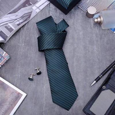 """Набор мужской """"Стиль"""" галстук 145*5см, запонки, полоска классическая, цвет изумрудный"""