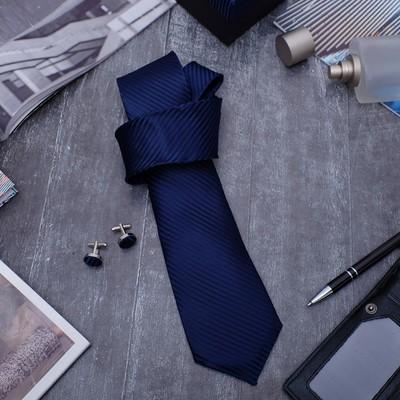 """Набор мужской """"Стиль"""" галстук 145*5см, запонки, линии тонкие, цвет темно-синий"""