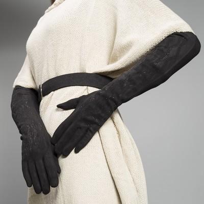 Перчатки женские безразмерные, комбинированные, без подклада, цвет чёрный