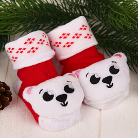 Новый год: носочки-погремушки детские «Мишка»