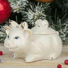 "Шкатулка керамика ""Белая свинка с бантиком и мышкой"" 10,3х7,5х6 см"