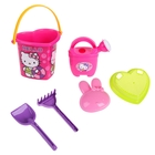 Набор песочный Hello Kitty: ведерко, сито, лейка, лопатка, грабельки, формочка