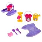 Набор песочный Hello Kitty: кораблик, ведерко, лейка, мельница, лопатка, грабельки, формо