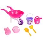 Набор песочный Hello Kitty: тележка, ведерко, сито, лейка, формочка, лопатка, грабельки