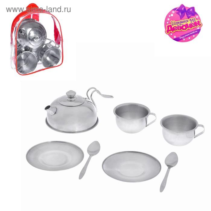 """Набор металлической посуды """"Поварёнок"""", с чайником, 7 предметов"""