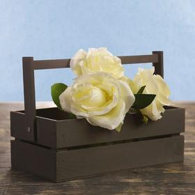 Кашпо флористическое из 2ух реек, со складной деревянной ручкой, чёрное, 24,5х13,5х9см