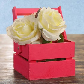 Кашпо флористическое из 2ух реек, со складной деревянной ручкой, розовое, 11х12х9см