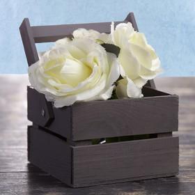 Кашпо флористическое из 2ух реек, со складной деревянной ручкой, чёрное, 11х12х9см