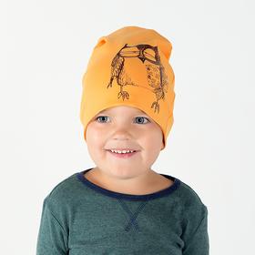 Двухслойная шапка Сова, (НФ-00022545), горчица, р-р 46-50 см