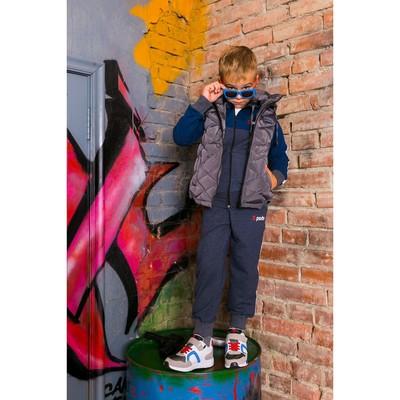Жилет для мальчика с капюшоном Sport, мокр.асфальт, рост 128-134 (34)