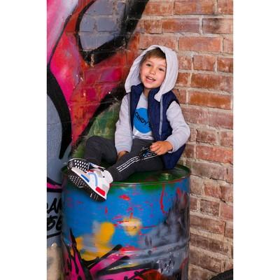 Жилет для мальчика с трикотажным капюшоном, синий, рост 122-128 (32)