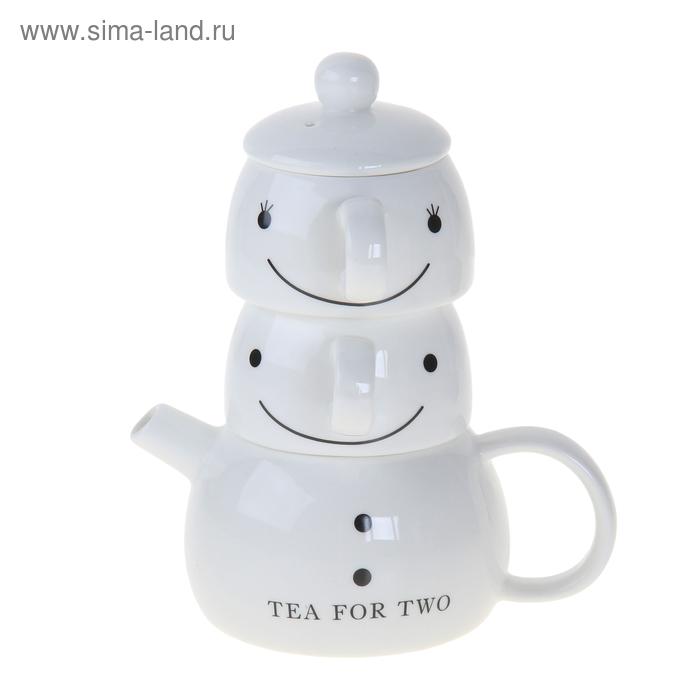 "Сервиз чайный ""Смайл"", 3 предмета: 2 чашки 150 мл, 170 мл, чайник 400 мл"
