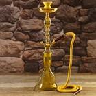 Кальян 61см 1тр колба ваза вытянутая лимонно-жёлтый, шахта золотистая