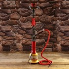 Кальян 77см 1тр колба ваза вытянутая красная с золотистым ажурным рисунком, шахта 1кр