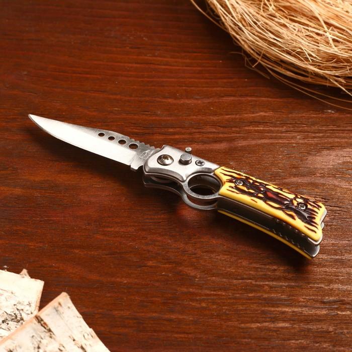 Нож складной автоматический, рукоять под кость