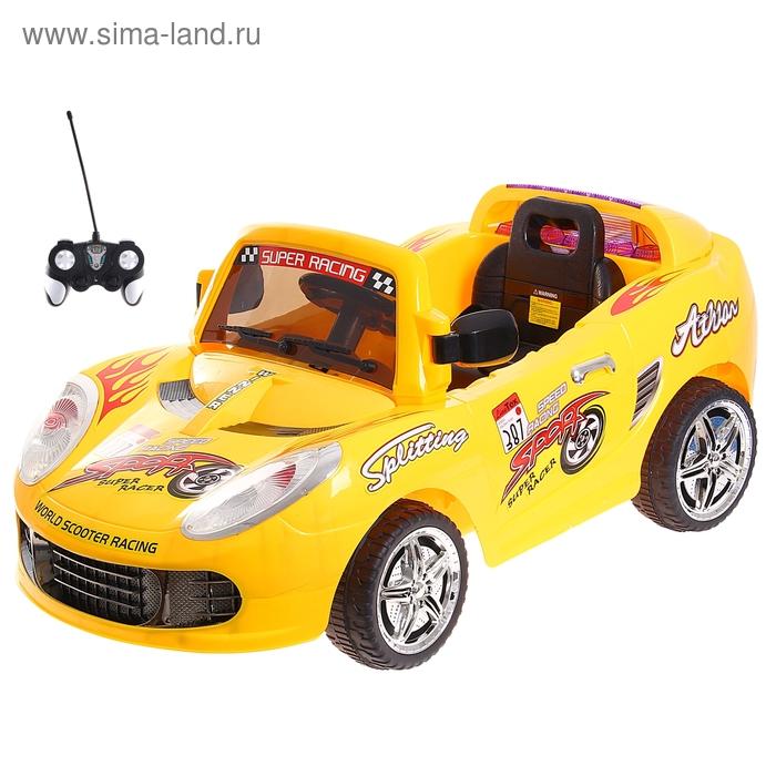 """Электромобиль """"Гонка"""" с аккумулятором, радиоуправляемый, световые и звуковые эффекты, цвета МИКС"""