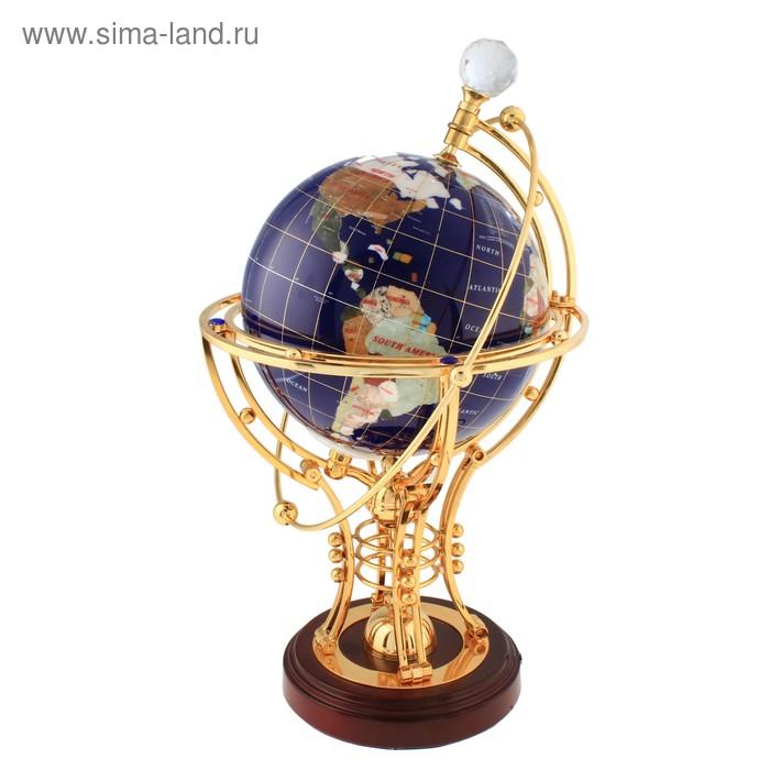 Глобус сувенирный под камень, синий, с подсветкой, на резной подставке под золото, d=22см, на английском языке