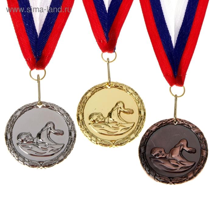"""Медаль тематическая """"Плавание"""" d=5 см, цвет бронза"""