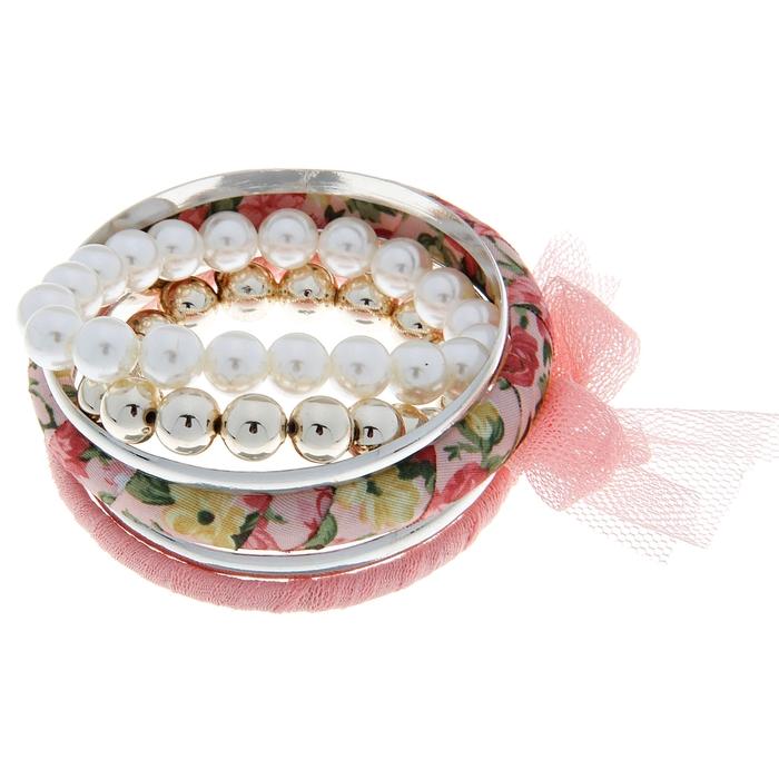 """Браслет-кольца 6 колец """"Джулия"""", цвет розовый"""