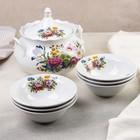 """Набор для пельменей """"Романс. Букет цветов"""", 7 предметов: ваза для супа 3 л, 6 мисок 600 мл"""