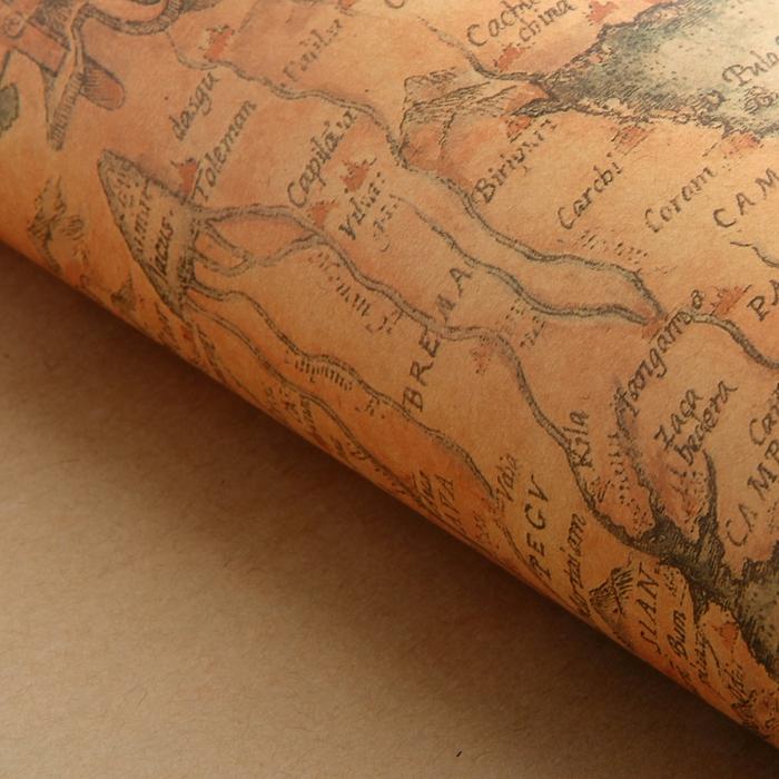 """Бумага упаковочная """"Карта"""", цвет песочный"""