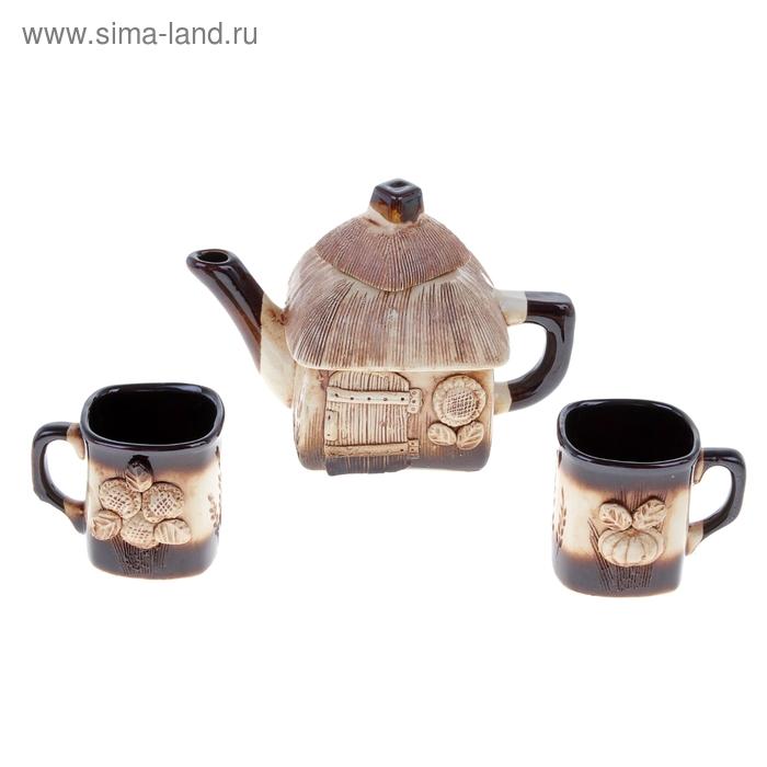 """Набор чайный """"Домик"""" 3 предмета: чайник 0,7 л, кружки 0,2 л"""