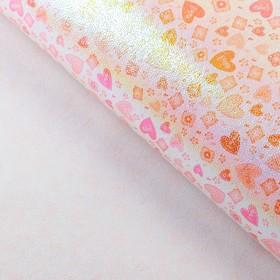 """Бумага упаковочная перламутровая """"Сердца"""", цвет оранжевый"""