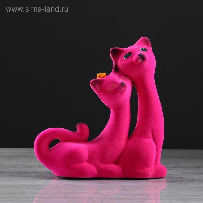 "Копилка ""Кошки"" пара, розовая, флок"