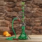 Кальян 67см 1тр, колба плоская зелёная с цветами, вставки на шахте хрусталь 5кр, 18х61 см