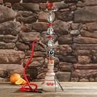 Кальян 74см 1тр, колба плоская красно-белая матовая, вставки на шахте хрусталь 2кр, 18х64 см   36141