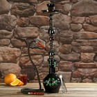 Кальян 67см 1тр, колба ваза чёрная, вставки на шахте акрил 1кр прозрачный, 15х65 см