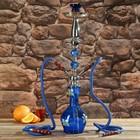 Кальян 69см 2тр, колба ваза синяя с цветами, акрил, 2кр синие, шахта хром, 15х66 см