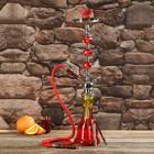 Кальян 67см 1тр, колба красно-жёлтая градиент, вставки на шахте акрил 3кр красные, 15х65 см   361419