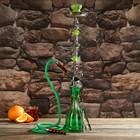 Кальян 70см 1тр, колба зелёная в полоску, вставки на шахте акрил 2кр зелёные, 15х70 см