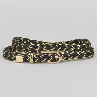 Ремень женский, пряжка хомут, кончик золото, ширина - 1 см, цвет чёрный/золотой