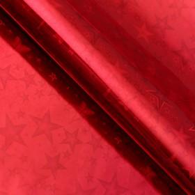 """Бумага голографическая """"Звездопад"""", цвет красный, 70 х 100 см"""