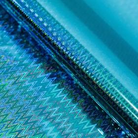 """Бумага голографическая """"Зигзаги"""", цвет голубой, 70 х 100 см"""