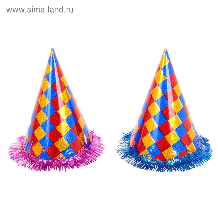"""Карнавальный колпак (набор 6 шт) """"Цветной квадрат"""" с мишурой"""