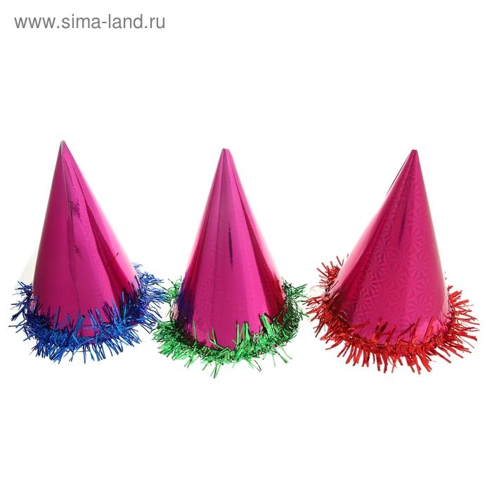 Карнавальный колпак (набор 6 шт), цвет розовый с мишурой