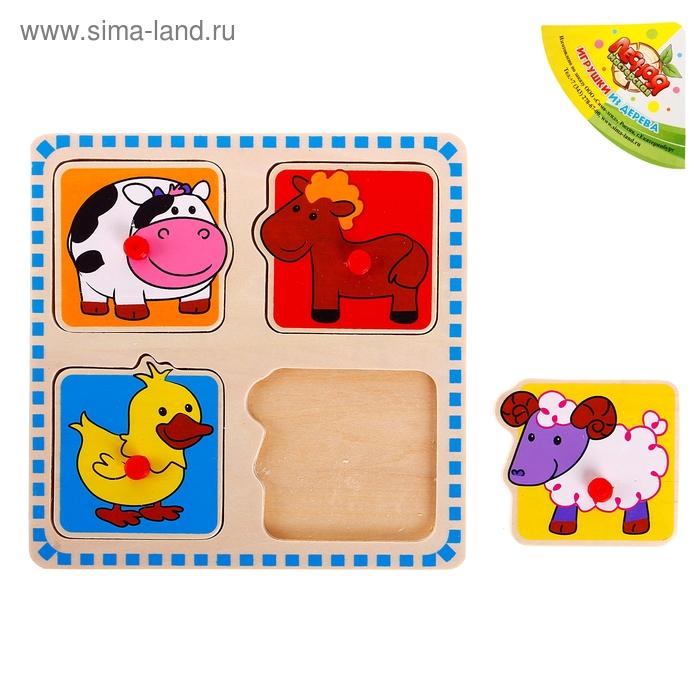 """Рамка - вкладыш в рамке с цветными квадратами """"Ферма"""", 4 элемента"""