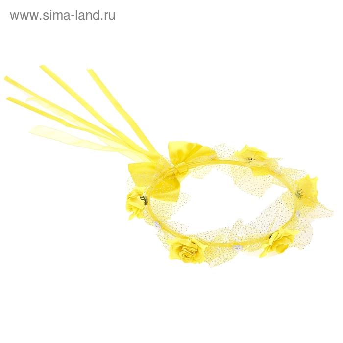"""Венок на голову """"Цветочки"""", цвет жёлтый"""